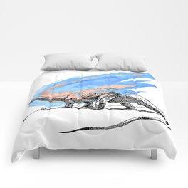 Brontosaurus Dinosaur on Blue Watercolor Asteroid Comforters