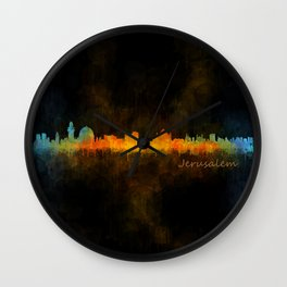 Jerusalem City Skyline Hq v4 Wall Clock