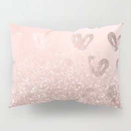 Rose Gold Sparkles on Pretty Blush Pink with Hearts Pillow Sham
