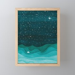Starry Ocean, teal sailboat watercolor sea waves night Framed Mini Art Print