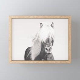 BW Horse, Horse Art, Black and White, Nordic Horse, Horse Print, Boho Decor, Horse Photo Framed Mini Art Print