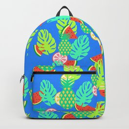 Watermelons and pineapples in blue Backpack