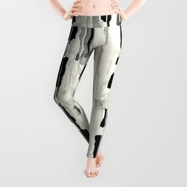 Minimal Black and Cream Abstract Design Leggings