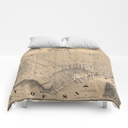Old Map Of San Francisco Comforters