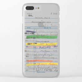 Library Card 3503 Exploring the Moon Clear iPhone Case
