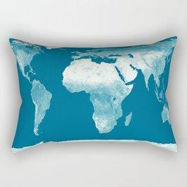 World Map Teal Rectangular Pillow