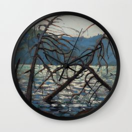 Tom Thomson - Canoe Lake, Spring - Canada, Canadian Oil Painting - Group of Seven Wall Clock