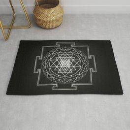 Sri Yantra XI - Black & White Rug