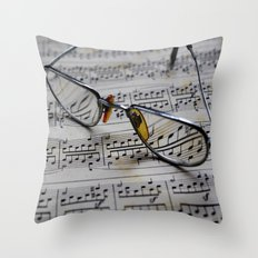 Glasses and note sheet Throw Pillow