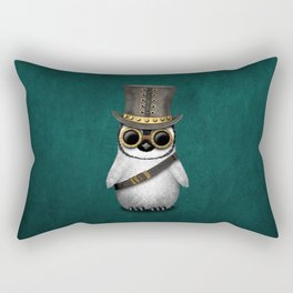Steampunk Baby Penguin on Blue Rectangular Pillow