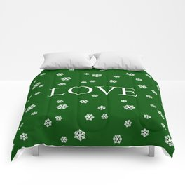 Winter Love - hunter green Comforters