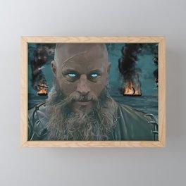 Ragnar Lothbrok Painting, King of the Northmen Framed Mini Art Print