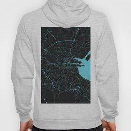 Dublin Ireland Black on Turquoise Street Map Hoody