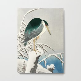 Heron in snow - Japanese vintage woodblock print art Metal Print