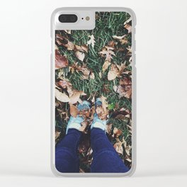 Fall Leaves & Shoes Clear iPhone Case