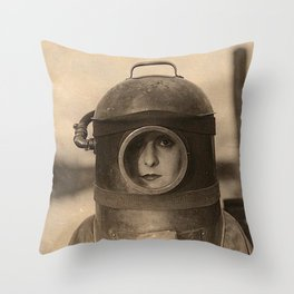 Scaphandre vintage photo Throw Pillow