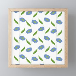 Floral stripes - blue and green Framed Mini Art Print