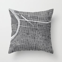 Center City Philadelphia Map Throw Pillow