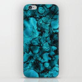 Blue Gemstone and Ink Malachite Glitter Marble iPhone Skin
