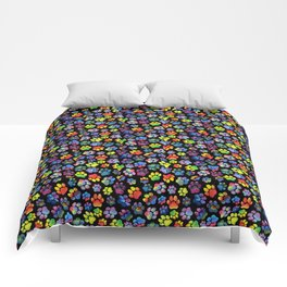 Rainbow Paw Print Watercolor Pattern Comforters