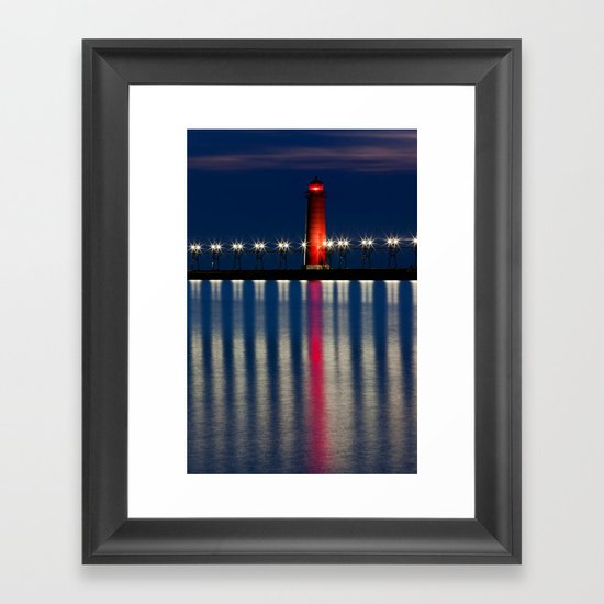 Grand Haven Pier Lighthouse and Reflections Framed Art Print