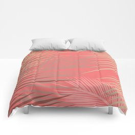 Palms Shadow on Living Coral Comforters