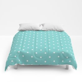 Small White Polka Dots with Aqua Background Comforters