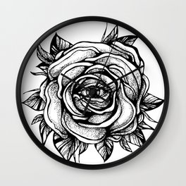 Black Rose flower With the eye Wall Clock