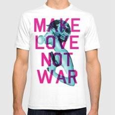 Make Love Not War SMALL White Mens Fitted Tee