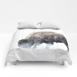 Bison grazing in a snowstorm Comforters