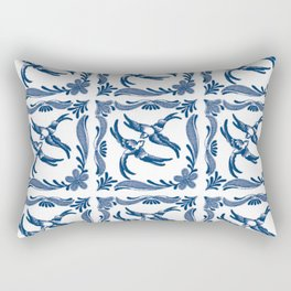 Blue and white swallows birds chinoiserie china porcelain toile asian ginger jar delft pattern Rectangular Pillow