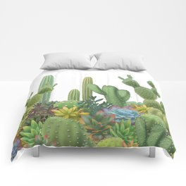 Milagritos Cacti on white background. Comforters