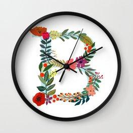 B Monogram Letter Abecedary Wall Clock