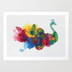 colorful peacocks Art Print