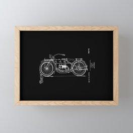 1919 Motorcycle Patent Black White Framed Mini Art Print