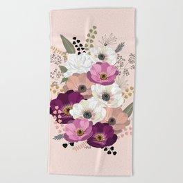 Anemones & Gardenia floral bouquet Beach Towel