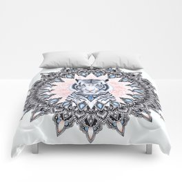 White Tiger Sapphire and Rose Mandala Comforters