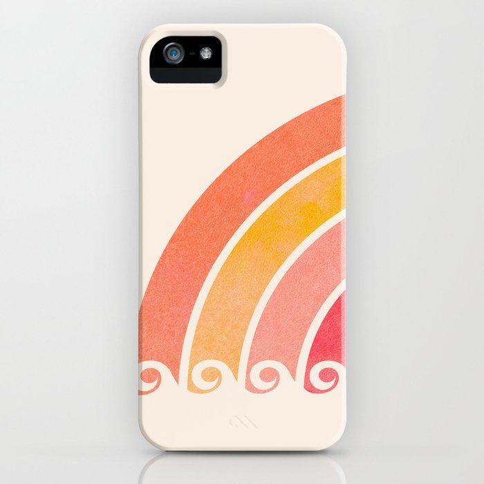 Whimsical Vintage Rainbow Waves iPhone Case