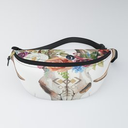 Colorful flowers & feathers dreamcatcher bull skull Fanny Pack