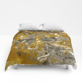 Brown and grey Marble texture acrylic Liquid paint art Comforters