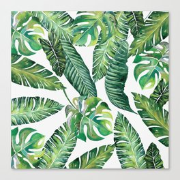Jungle Leaves, Banana, Monstera #society6 Canvas Print