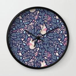 Sleeping Fox - navy Wall Clock