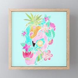 Tropical summer watercolor flamingo floral pineapple Framed Mini Art Print