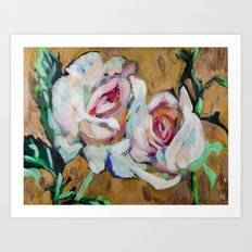 Two Roses on Gold Art Print