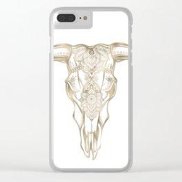 Bull Skull Gold Clear iPhone Case