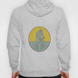 Construction Worker Operating Jackhammer Oval Drawing Hoody