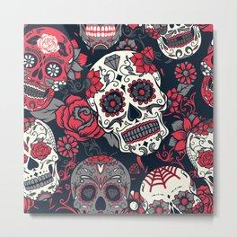 Red Sugar Skulls Metal Print