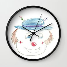 Childhood Drawings (clown) Wall Clock