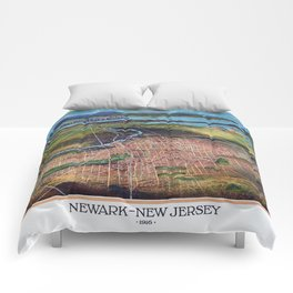 NEWHARK NEW JERSEY city old map Father Day art print poster Comforters