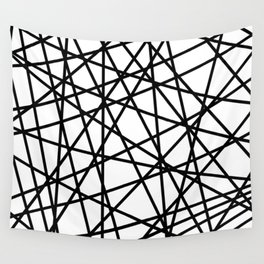 Lazer Dance Black on White Wall Tapestry
